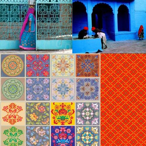 Mønstre, farver, forme, Indien, Kina, manostiles inspiration