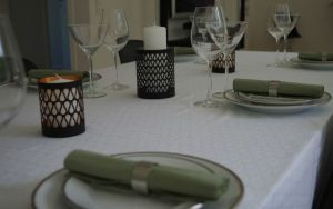 White & Black Tablecloth