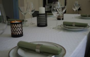 White & Black Tablecloth