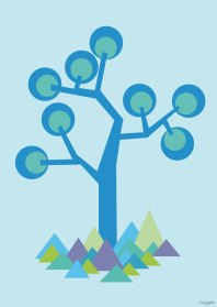 Poster - illustration tree in Blue. We have made 5 posters and all are available in both A3 and A5 sizes. A3 Euro 8 - A5 Euro 14
