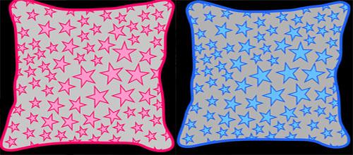 Stars, cushion, blue, pink, manostiles, design, modern
