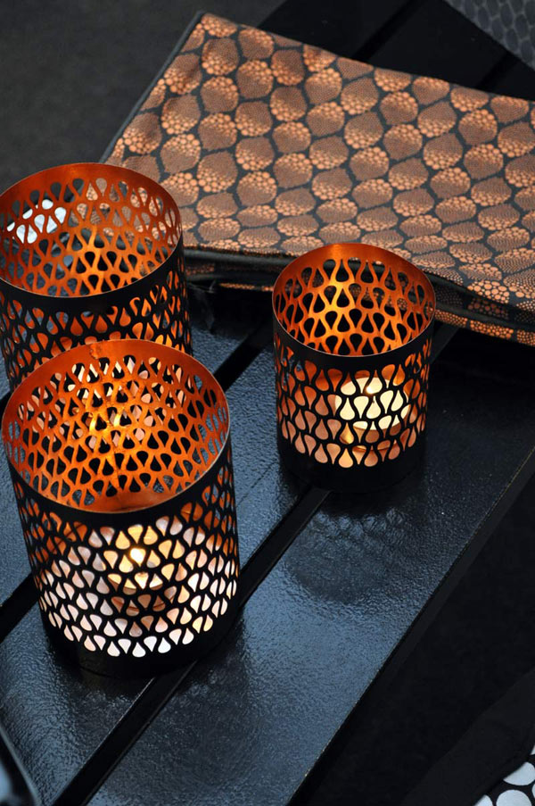 Copper candlestik - design dots cushion